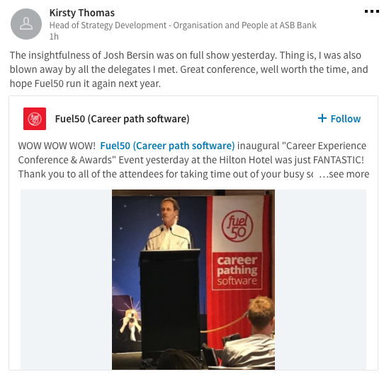 Career Experience Conference & Awards by Fuel50 - Kirsty Thomas, LinkedIn